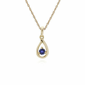 Gemondo-9ct-Oro-Amarillo-Tanzanite-Piedra-Unica-Lagrima-Collar-45cm
