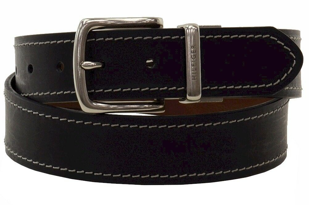 Tommy Hilfiger Men/'s Brown Black Reversible Stitch Leather Belt 11TL08X009