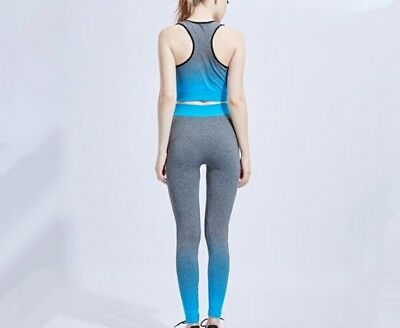 hot women yoga fitness seamless brapants leggings set gym