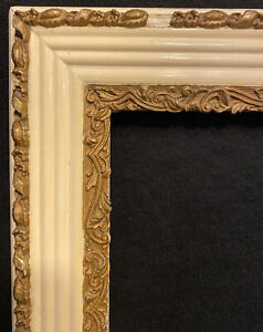 """Antique Wood Picture Frame White Gilded Gesso Victorian Painting Holds 16"""" X 20"""""""