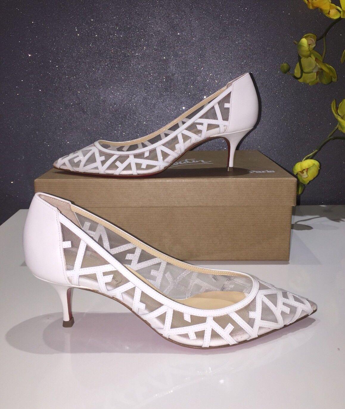 Christian Louboutin Tititata bianca Mesh Bridal Pump 555mm Dimensione  5.5 US  895  vanno a ruba