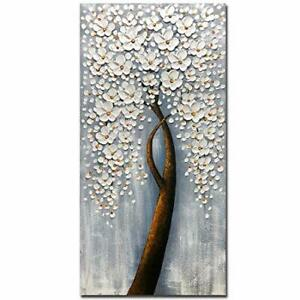 outlet deals Yotree Paintings 24x48 Inch White Flowers Painting ...