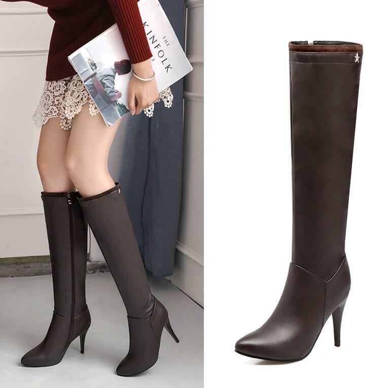 Sexy Damen High Heel Stiletto Spitz Reißverschluss Reitstiefel Kniehoch Stiefel