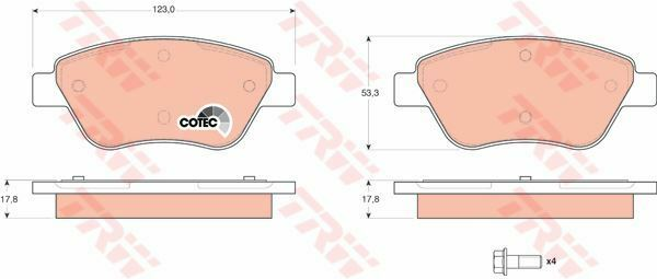GDB1579 TRW Brake Pad Set, disc brake Front Axle