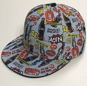 Coca-Cola-2000-s-Pop-Art-Can-Bottle-Hat-with-All-Over-Graphic-Print-NEW