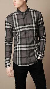 NWT-BURBERRY-MEN-039-S-Classic-Check-Detail-Stretch-Cotton-Blend-Shirt-L-CHARCOAL