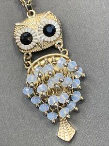 "Vintage Bohemian Crystal Owl  Spirit Animal Boho Gold Tone Pendant Necklace 32"""
