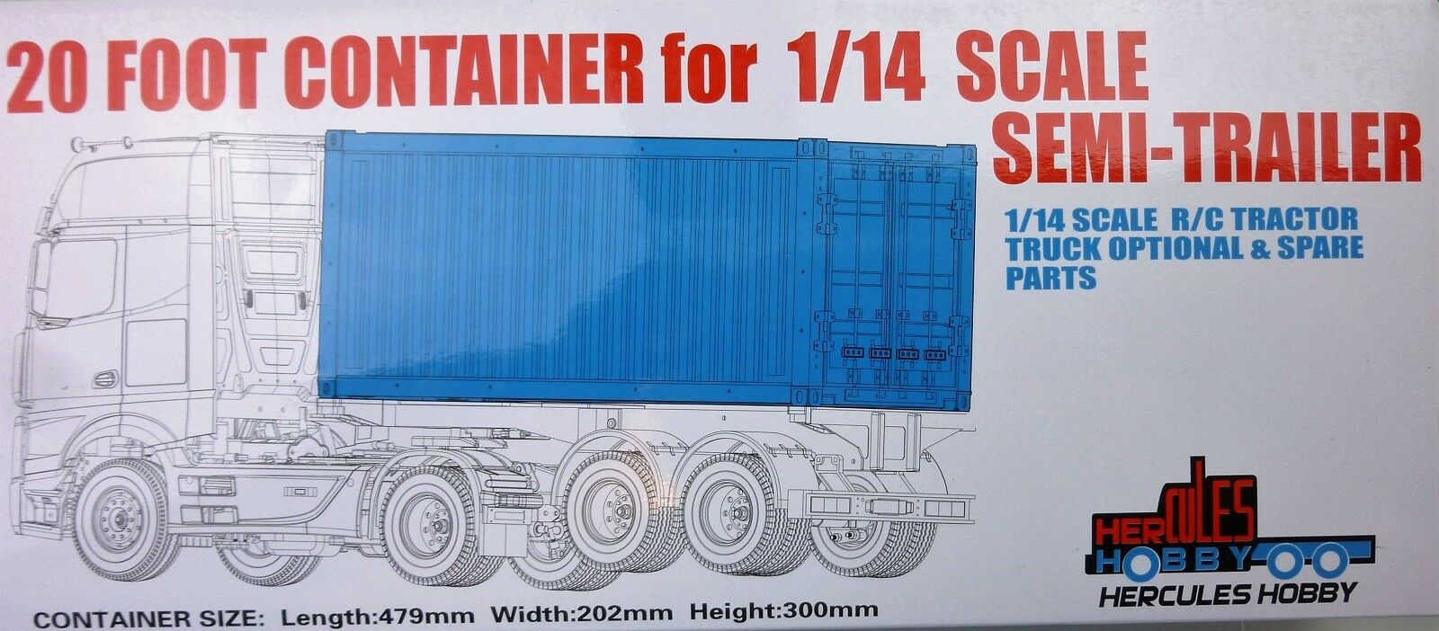 20 foot CONTAINER for Tamiya 1 14 RC Semi Trailers Tractor Trailers Hercules
