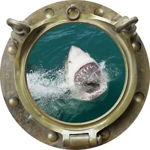 "12/"" Porthole Ocean Window View SHARK #4 BRASS Wall Sticker Graphic Art Decal NEW"