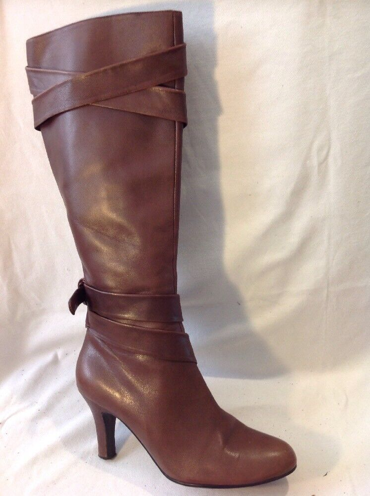Roland Cartier Brown Knee High Leather Boots Size 40