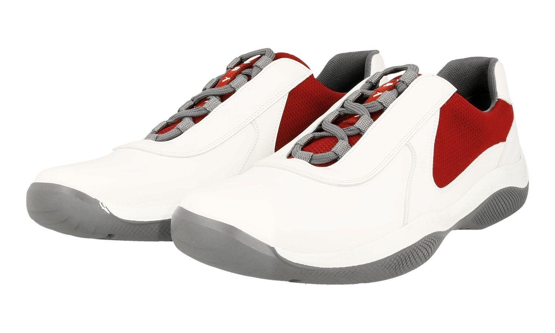 AUTH PRADA AMERICAS CUP scarpe da ginnastica scarpe 4E2905 bianca rosso US 10 EU 43 43,5