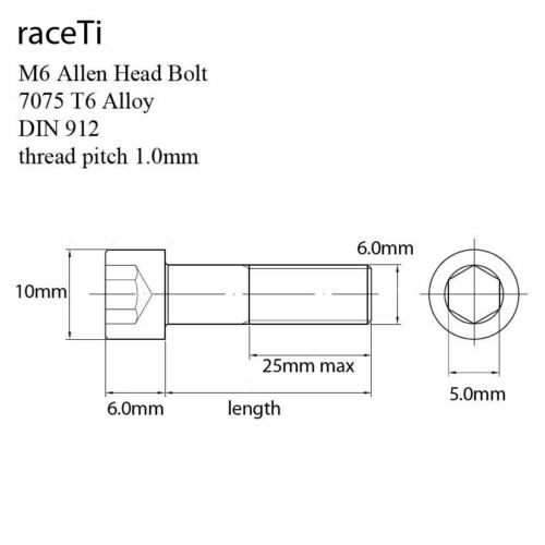 M6 x 25mm Aluminium 7075 T6 Cap Socket Allen Screw Bolt DIN 912 25 x1.0