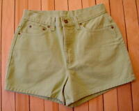 Womens Newport News Jeanology Green Denim Jean Shorts Sz 8 100% Cotton M