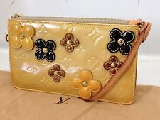 Auth Louis Vuitton Vernis Yellow Lexington Fleurs Pochette 6H090030N
