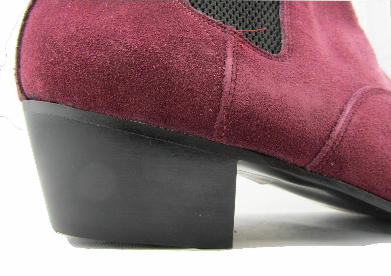 Retro Mens Burgundy Boots Red Suede Chelsea Beat Boots Burgundy  Cuban Heel Beatle Pointed cde94a