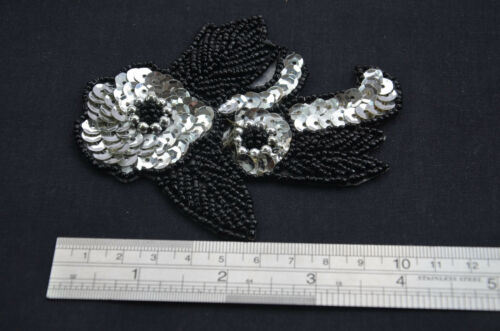 BLACK BEAD ROSE 4/' 10cm Embroidered Sew On Patch Applique Trim Trimming SILVER