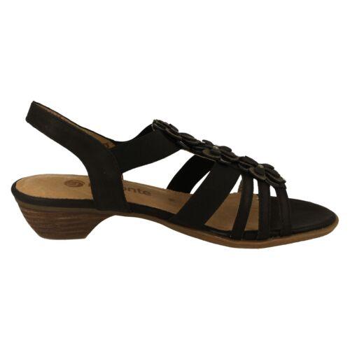 Remonte r0859-01 Ladies Negro Sandalias