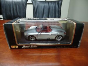 Maisto-Porsche-Boxster-Plata-1-18-Diecast-Modelo-Edicion-Especial
