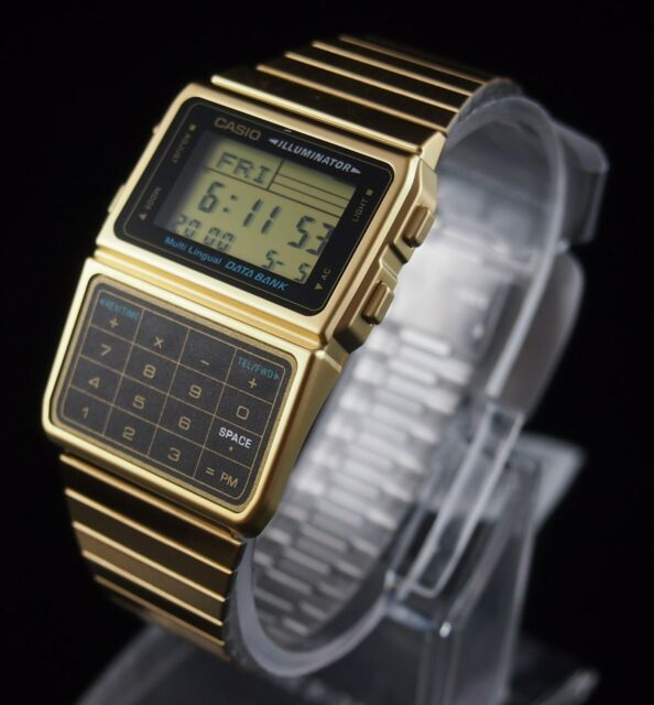 27c51e0ff36 CASIO Databank Calculator Gold Watch DBC-611G-1 Stainless Steel Original  New !
