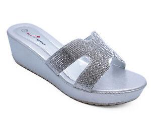 à Condition De Femme Slip-on Silver Talons Compenses Sandales Strass Bout Ouvert Soirée Chaussures Tailles 3-8-afficher Le Titre D'origine