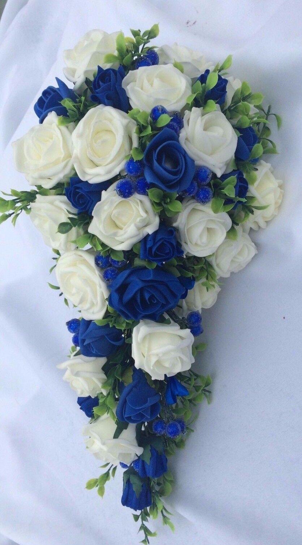 Mariage Fleurs Bridal Bouquet paquet bleu royal & Ivoire avec baies