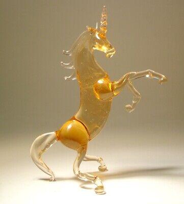 Unicorn Figurine of Hand Blown Glass Rearing