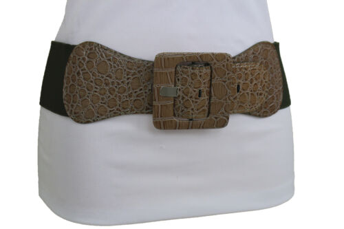 Women Beige Faux Leather Wide Fashion Olive Green Elastic Belt Square Buckle M L