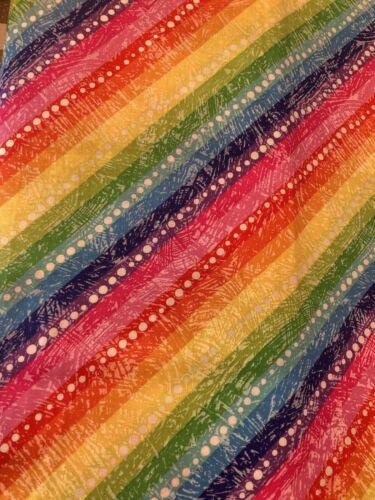 Diagonal RAINBOW Dots Fabric By the Half Yard 100/% Cotton