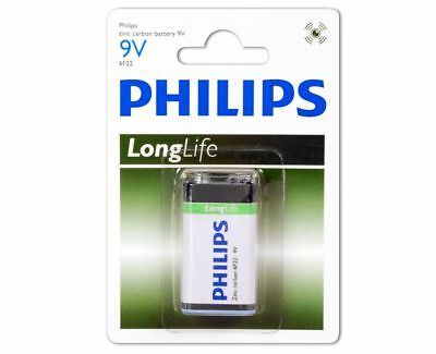 2 x Philips 9V Block 6F22 Longlife Zink Chlorid E-Block Batterie - BL