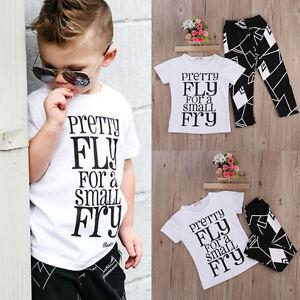 09e628336 US Toddler Kids Baby Boy Cute Outfits Short Sleeve T-Shirt Top+Pants ...