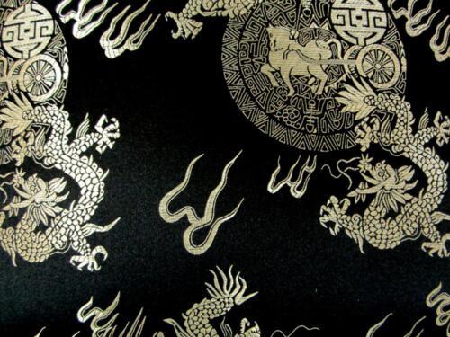 Faux Silk Brocade Black Background Jacquard Damask Kimono Fabric Material BL24