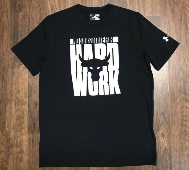 pretty cheap modern and elegant in fashion meet Under Armour Project Rock No Substitute for Hard Work Black T-shirt XXL 2xl