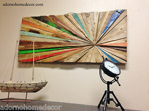 Image Is Loading Rustic Reclaimed Teak Wood Abstract Wall Decor Art