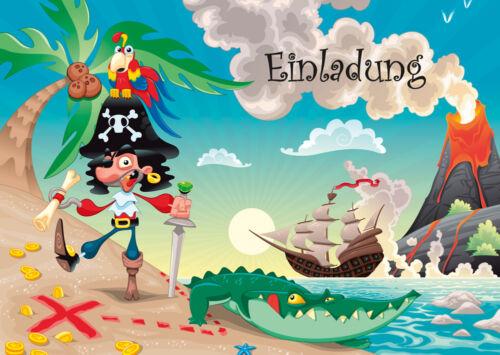 Piraten Einladungen zum Geburtstag oder zur Schatzsuche 4,6,8,10,12,15,20St.