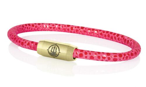 "Seemannsgarn /_ Maritimes Leder Armband mit Rochen-Optik /""Sylt/"" pink 4mm"