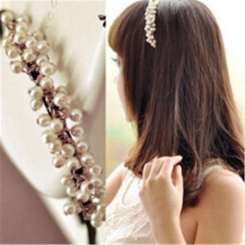 White Pearl Beads Crystal Headband Girls Hairband Hair Head Band For Women JT