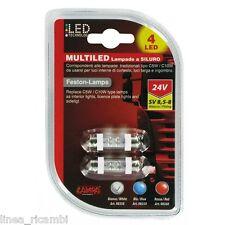 98358  24V Lampada siluro 4 Led - 11x38 mm - SV8,5-8 - 2 pz - D/Blister - Bianco