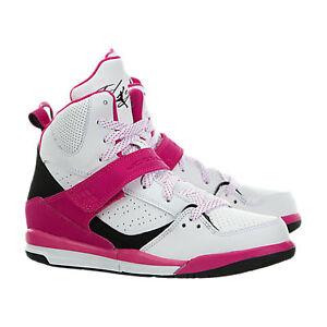 Détails sur Enfants Nike Jordan Flight 45 High GP Blanc Rose Noir Baskets 524863 158 afficher le titre d'origine