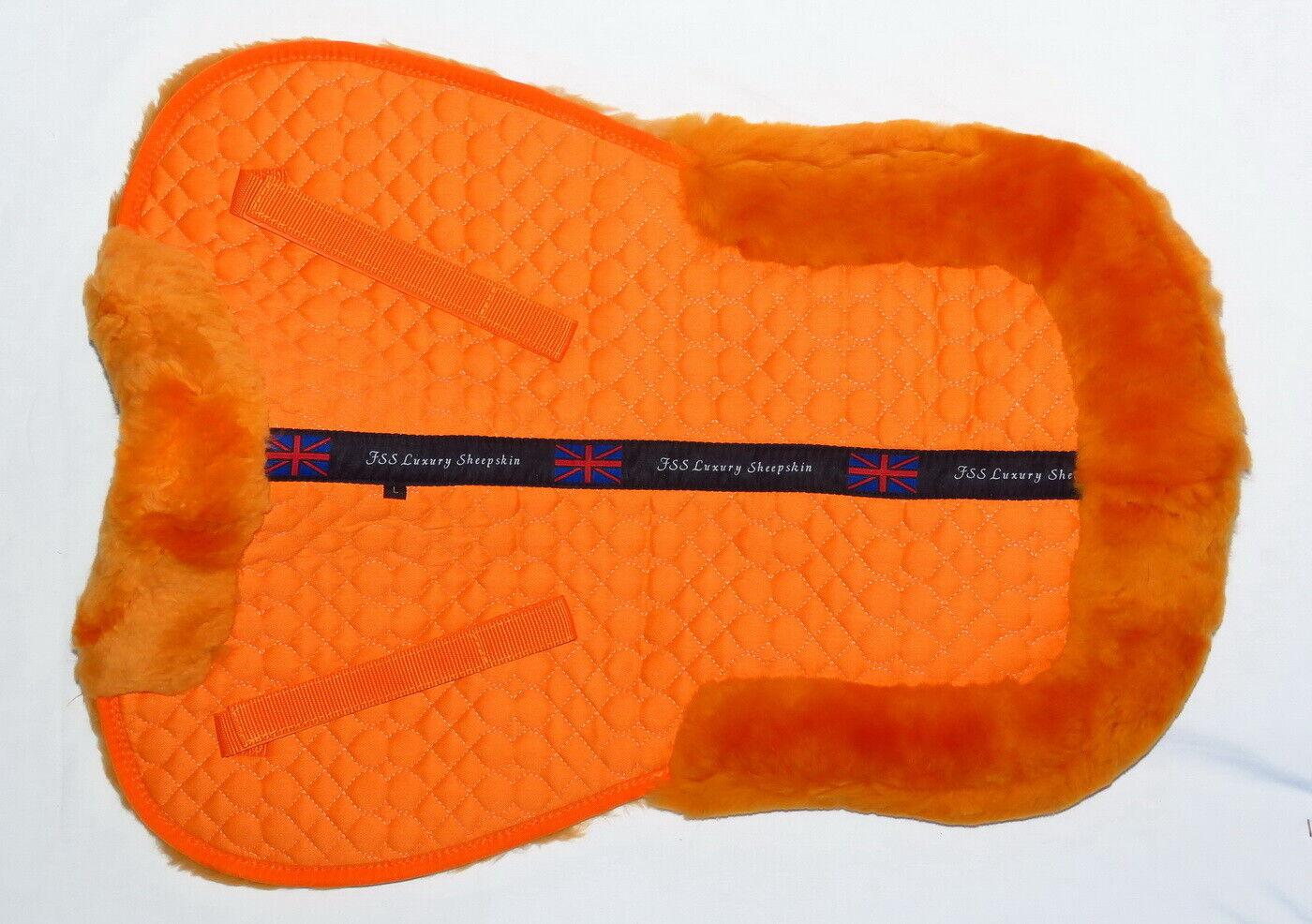 FSS piel de oveja Merino Lana de cordero vuelta entumezca Comfort silla almohadilla media Numnah Naranja