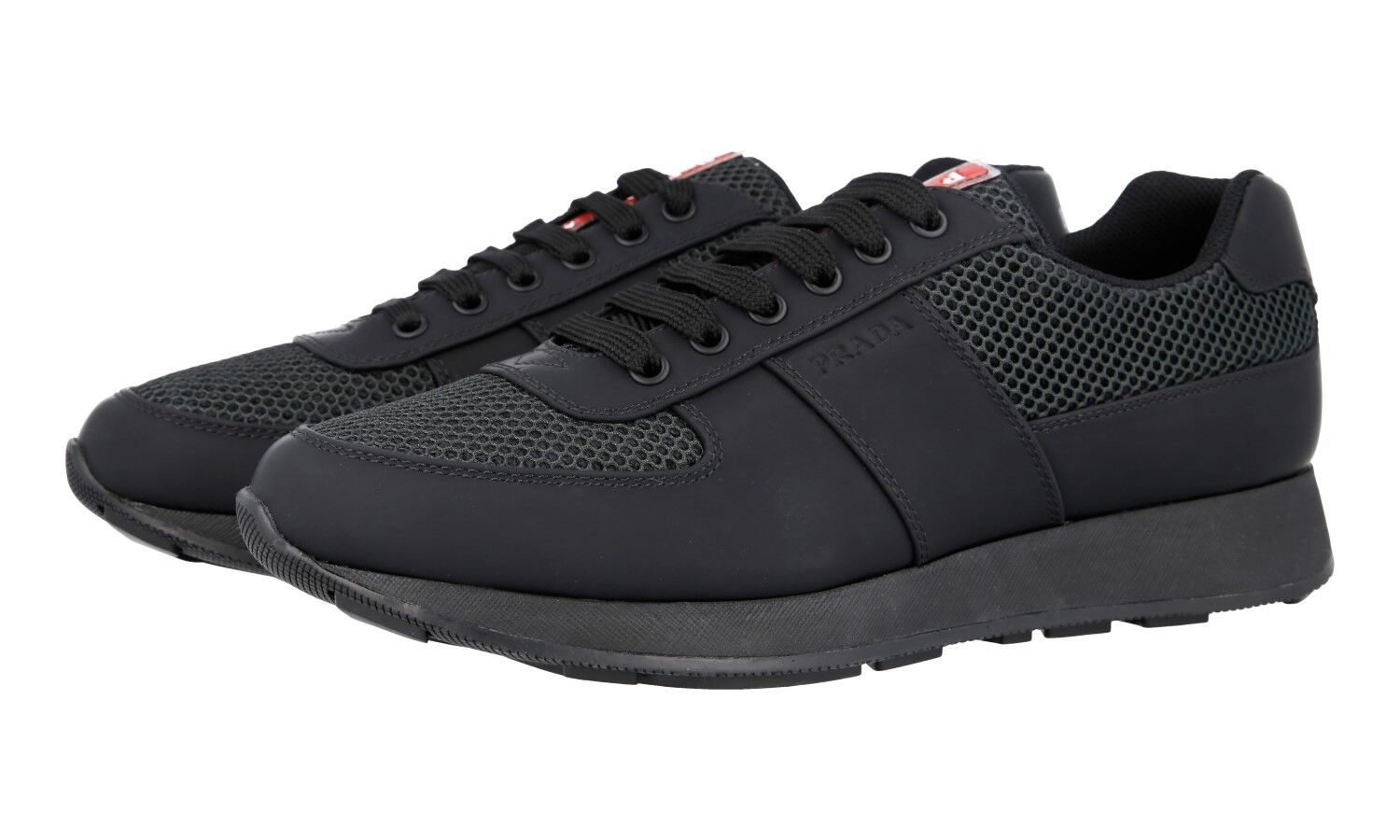 AUTH PRADA TRAINERS SHOES 4E3341 BLACK RUBBERIZED LEATHER 7 41 41,5