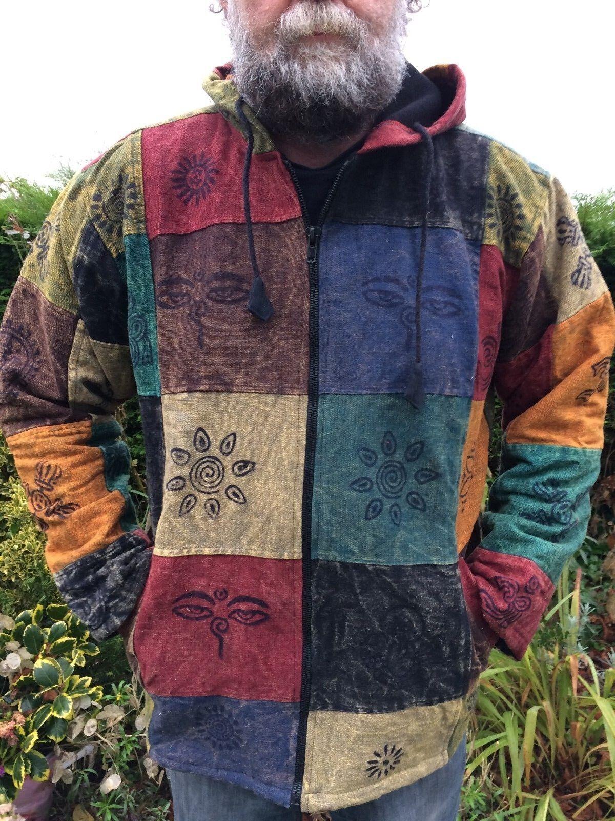 Männer und Damen Schwere Baumwolle Bunt Patchwork Jacke Mit Symbole M L XL XXL
