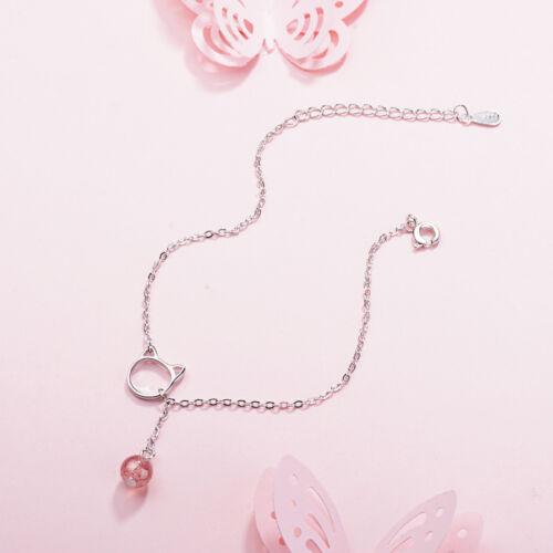 Femmes 925 Argent Sterling Strawberry Crystal Quartz Perle Mignon Chat Bracelet
