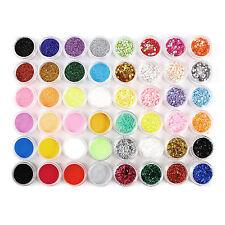 48pcs Nail Art Glitter Dust Powder For UV Gel Acrylic Decoration Set Tips