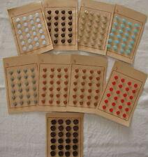 MERCERIE ANCIENNE 9 cartes de boutons 11. 14. 18 mm, matière plastique tbe
