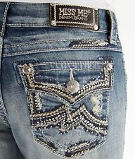 MISS ME SALE CHEAP Low Rise Grinded Distressed Boot Stretch Jean 25 X 32