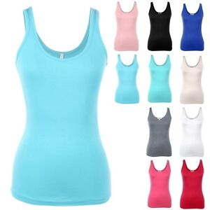 Basic-Sleeveless-Solid-Scoop-Neck-Muscle-Tank-Top-Casual-Rayon-Spandex-S-M-L