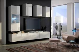 Charmant Das Bild Wird Geladen Wohnwand  Haengend Tv Wand Fernseherschrank Concept 4 Hochglanz
