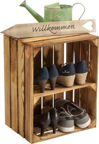 Schuhschrank Schuhregal - Weinkiste Obstkiste Holzkiste - geflammt - 50x40x30cm