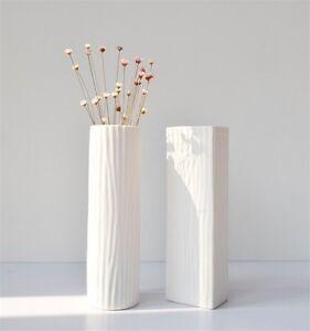 Simple Ceramic Flower Vase Modern White Vase For Home Office Decor