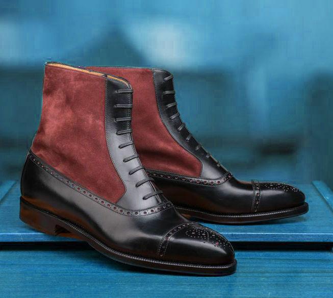 Homme Fait à la main bottes en cuir noir bergundy daim biCouleure cheville Formal Wear Chaussure
